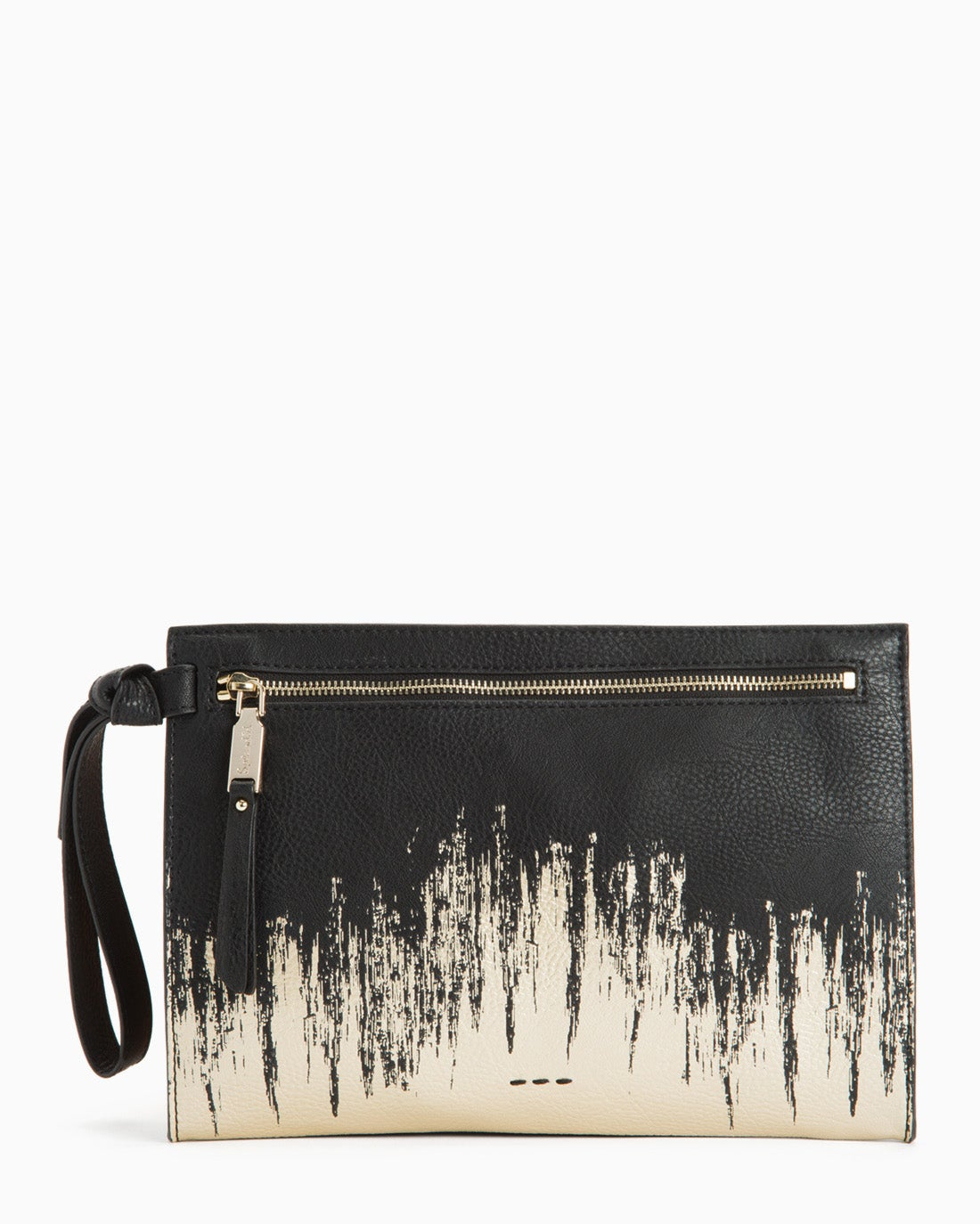 The Bodega Gilded Clutch boasts a bold painterly motif that's perfect for keeping your essentials in place while giving your look an aspirationally artistic appeal. Front zip closure Wrist strap