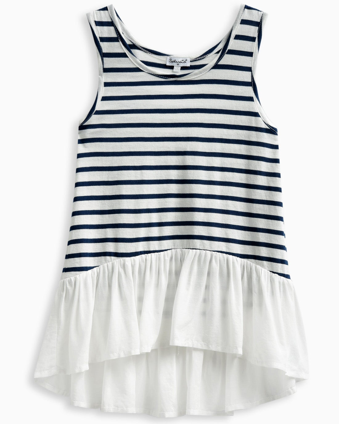Elevated basics for her Stripes pair with a cute and billowy bottom hem for an adorable and effortless style Pairs easily Sleeveless