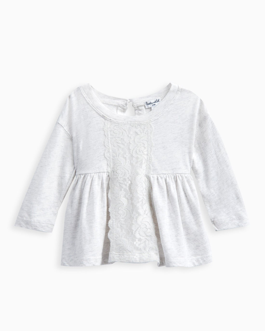 The Baby Girl Lace Insert Top adds a bit of polished charm to her look. Lace insert detail Long sleeves Elasticized waistline Back button loop closure with keyhole detail