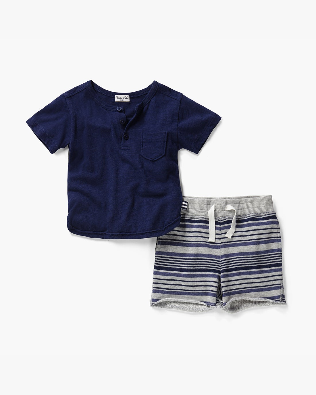 Splendid Little Boy Stripe Print Brushed French Terry Short Set