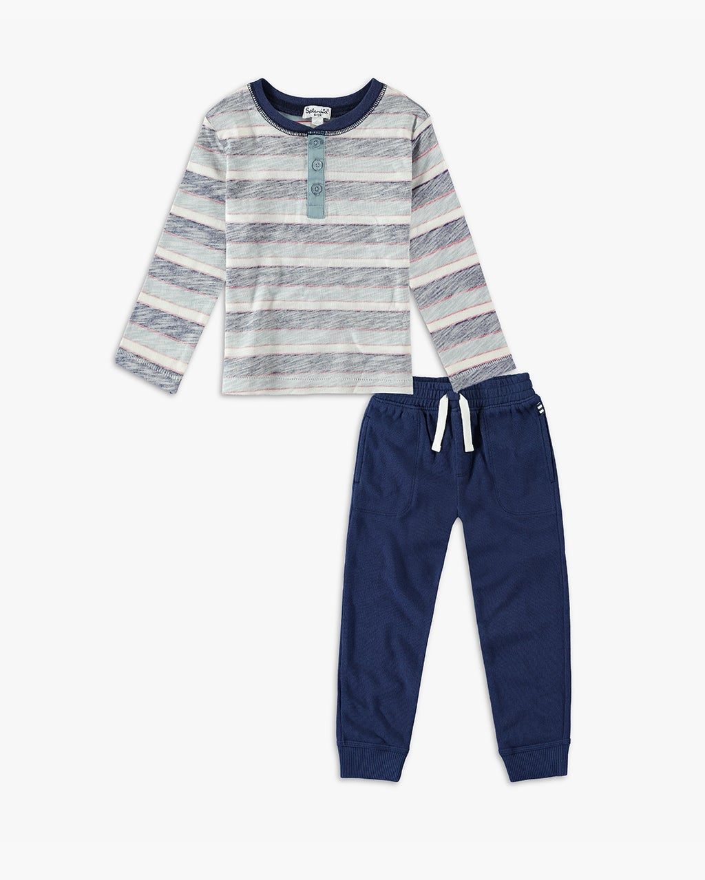 Splendid Baby Boy Reverse Stripe Long Sleeve Set