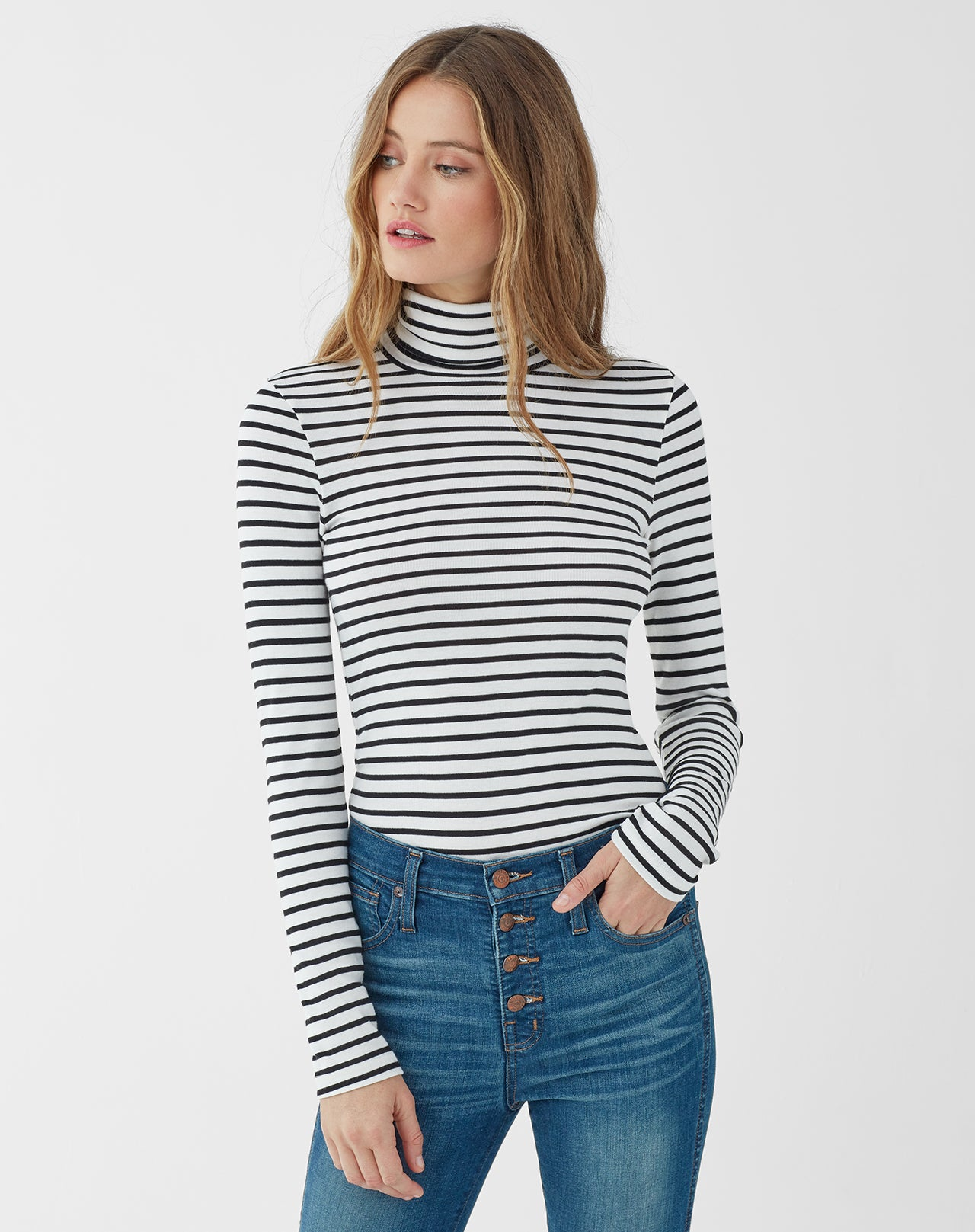 Splendid Women's Black Venice Stripe Turtleneck
