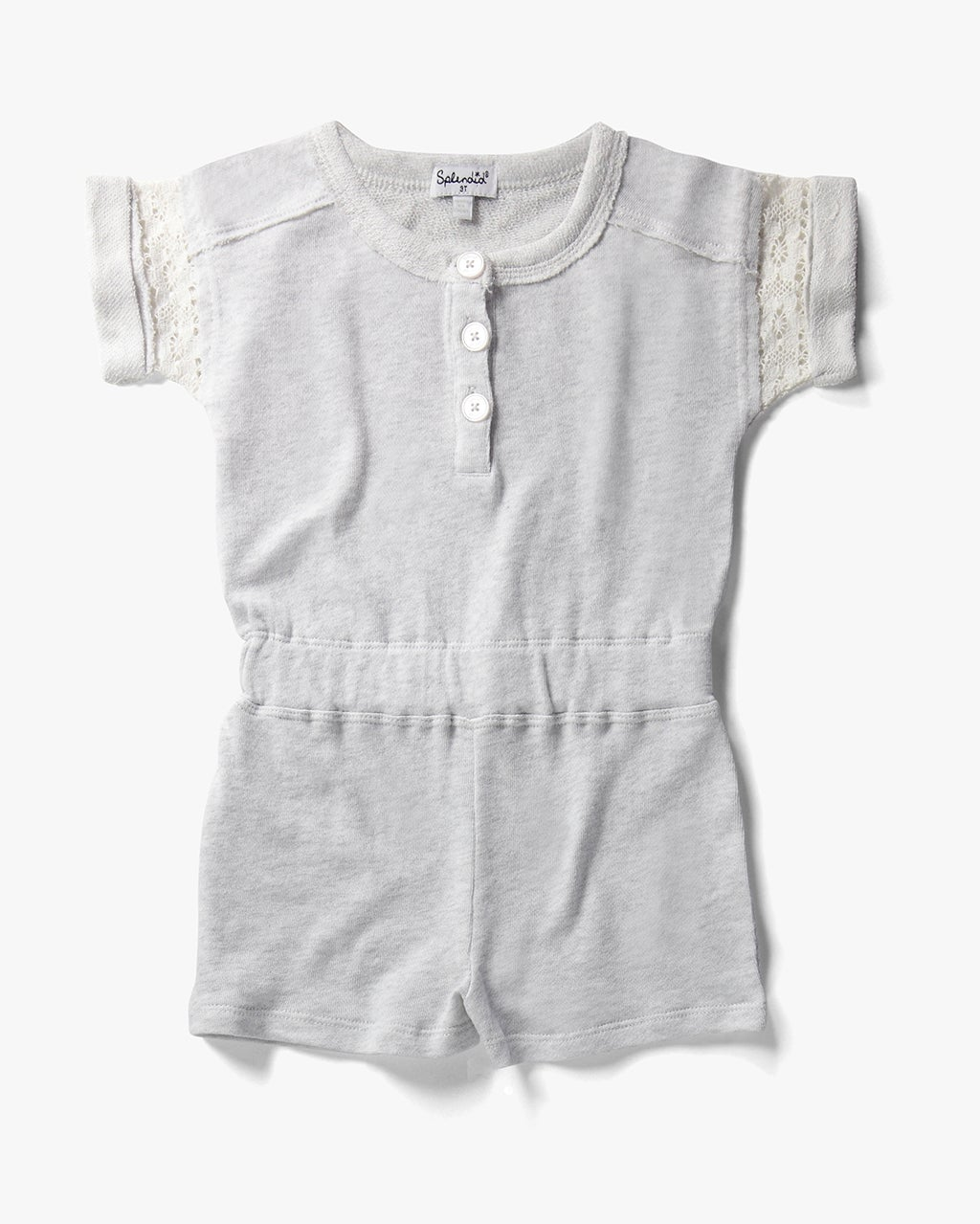 Splendid Little Girl French Terry Romper With Lace