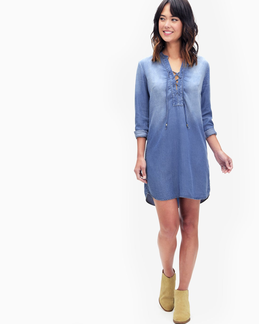 Splendid Women's Adelise Indigo Lace Up Shirtdress