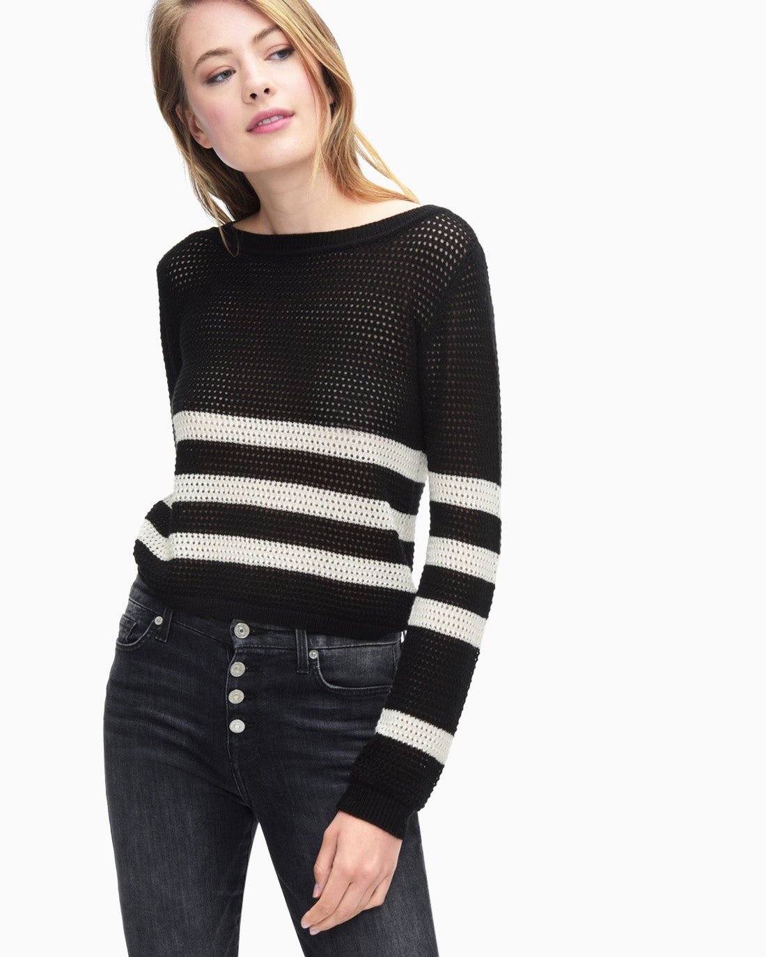 Splendid Women's Halloway Mesh Sweater Stripe Pullover