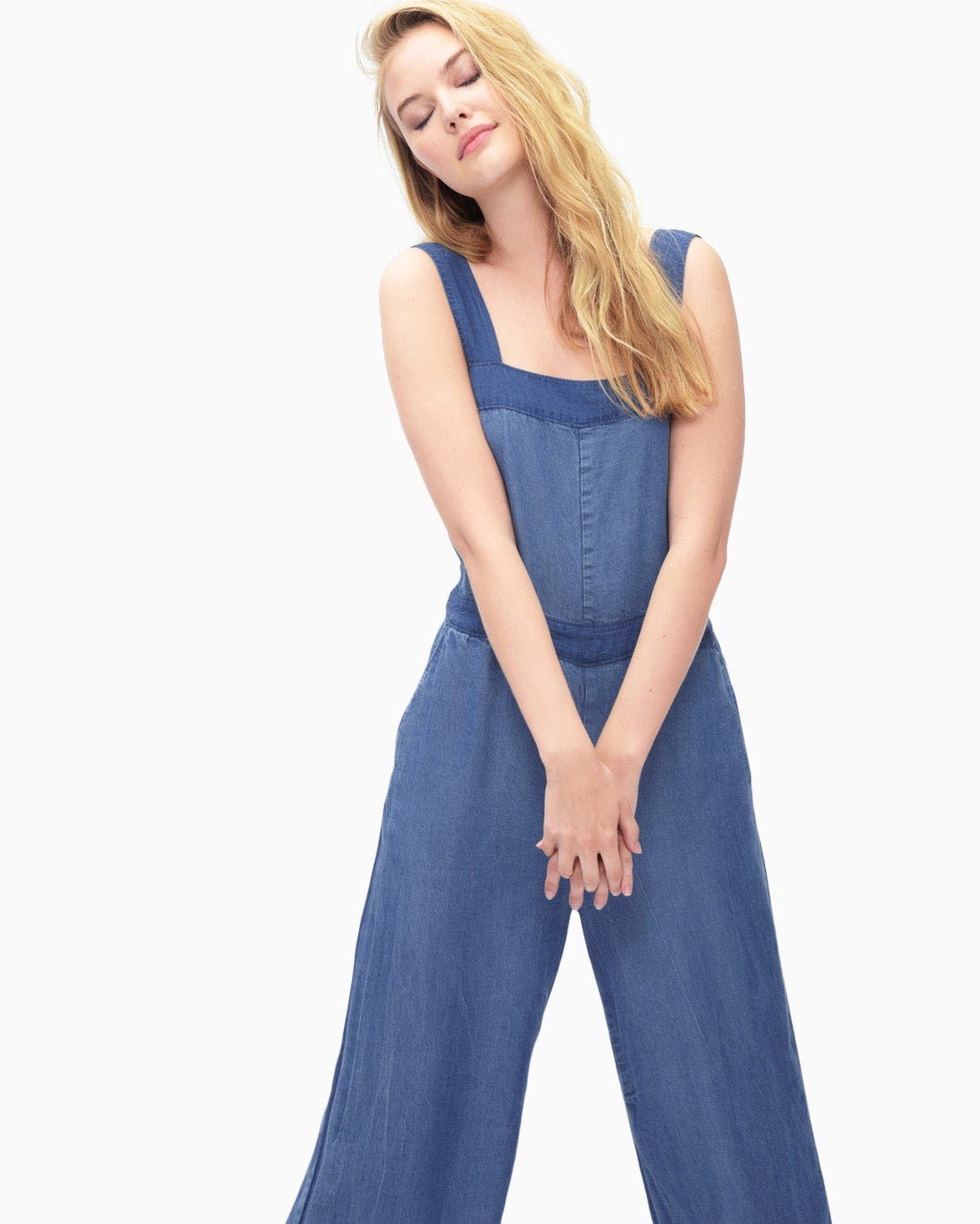 Splendid Women's Blocked Indigo Culotte Jumpsuit