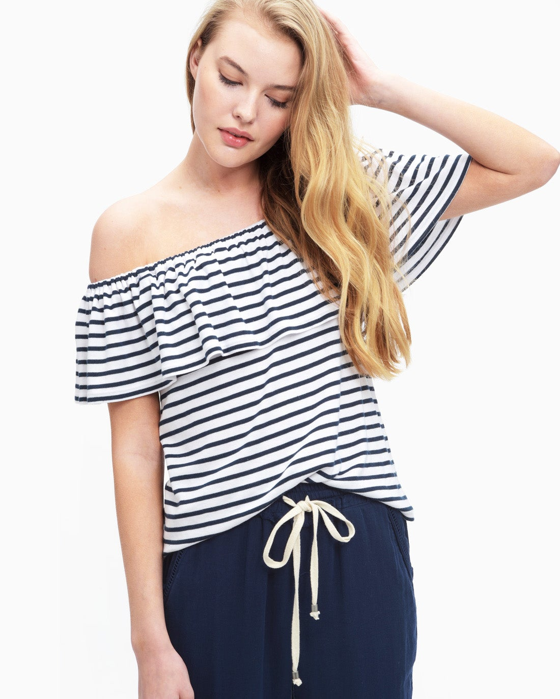 Splendid Women's 1X1 Venice Stripe Off Shoulder Top