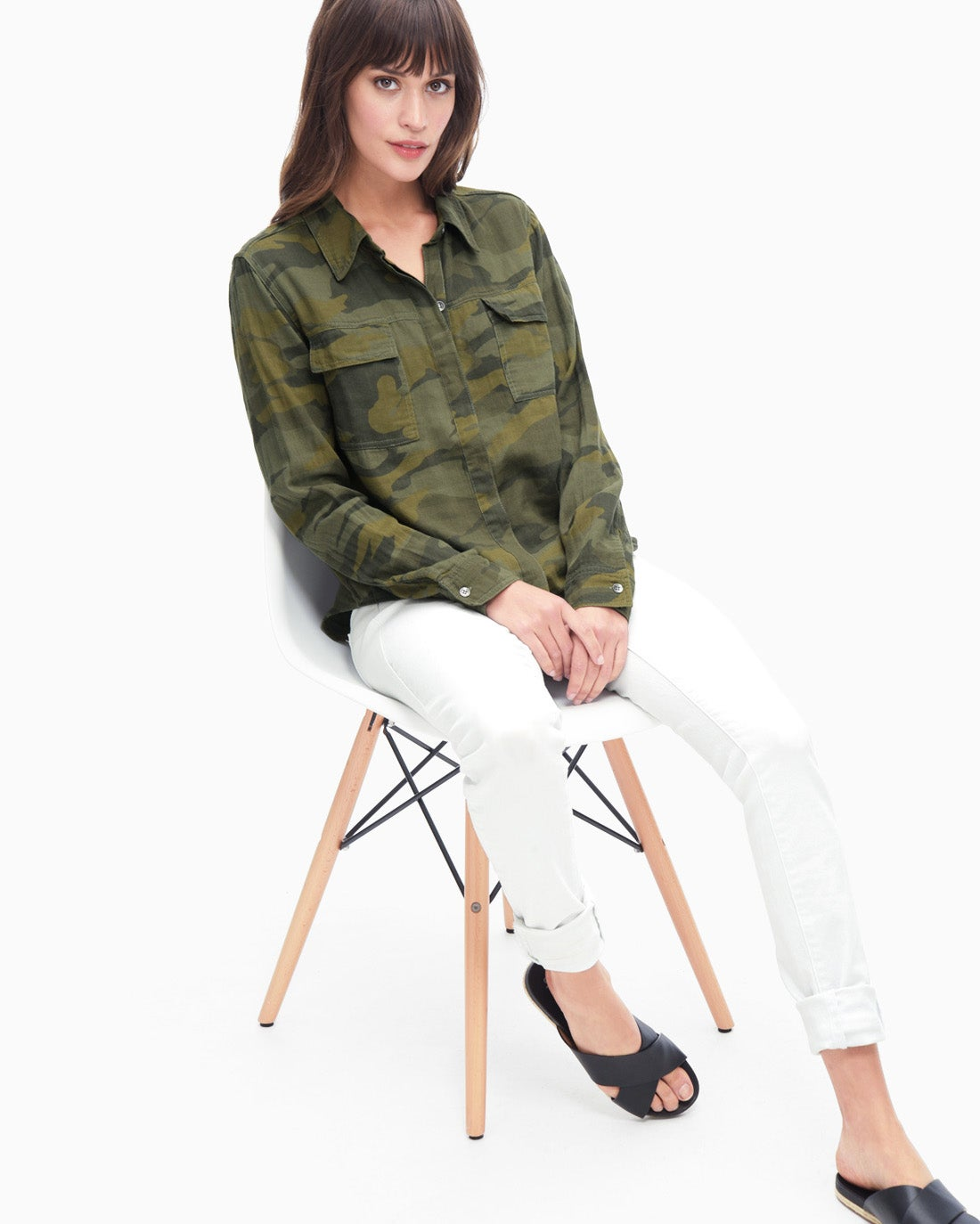 Splendid Women's Camo Print Double Cloth Shirt