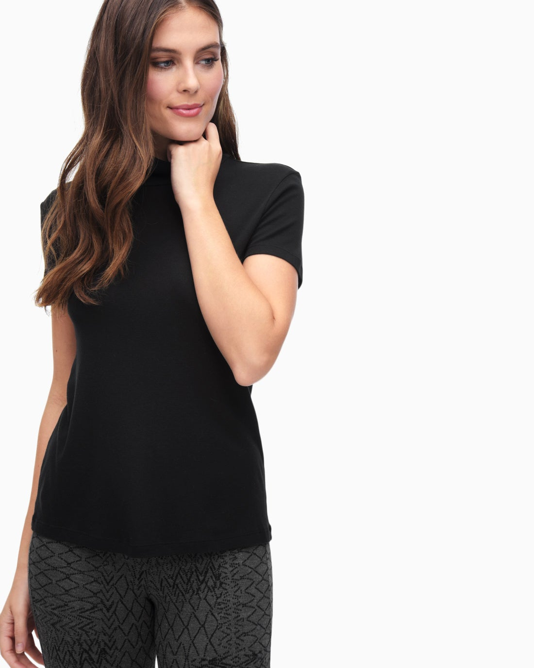 Splendid Women's Slub 1X1 Fitted Turtleneck Tee