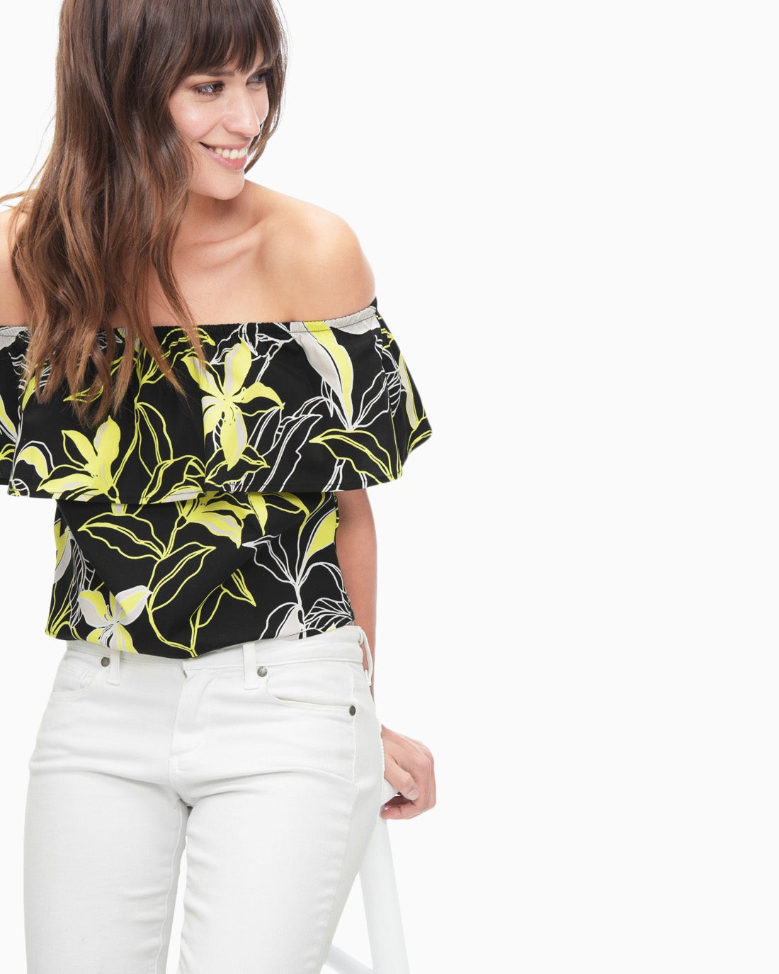 Splendid Women's Tropic Floral Off Shoulder Top