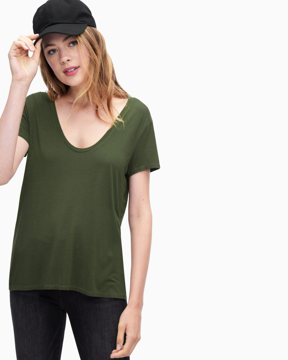 Splendid Women's Rayon Jersey Deep U-Neck Top