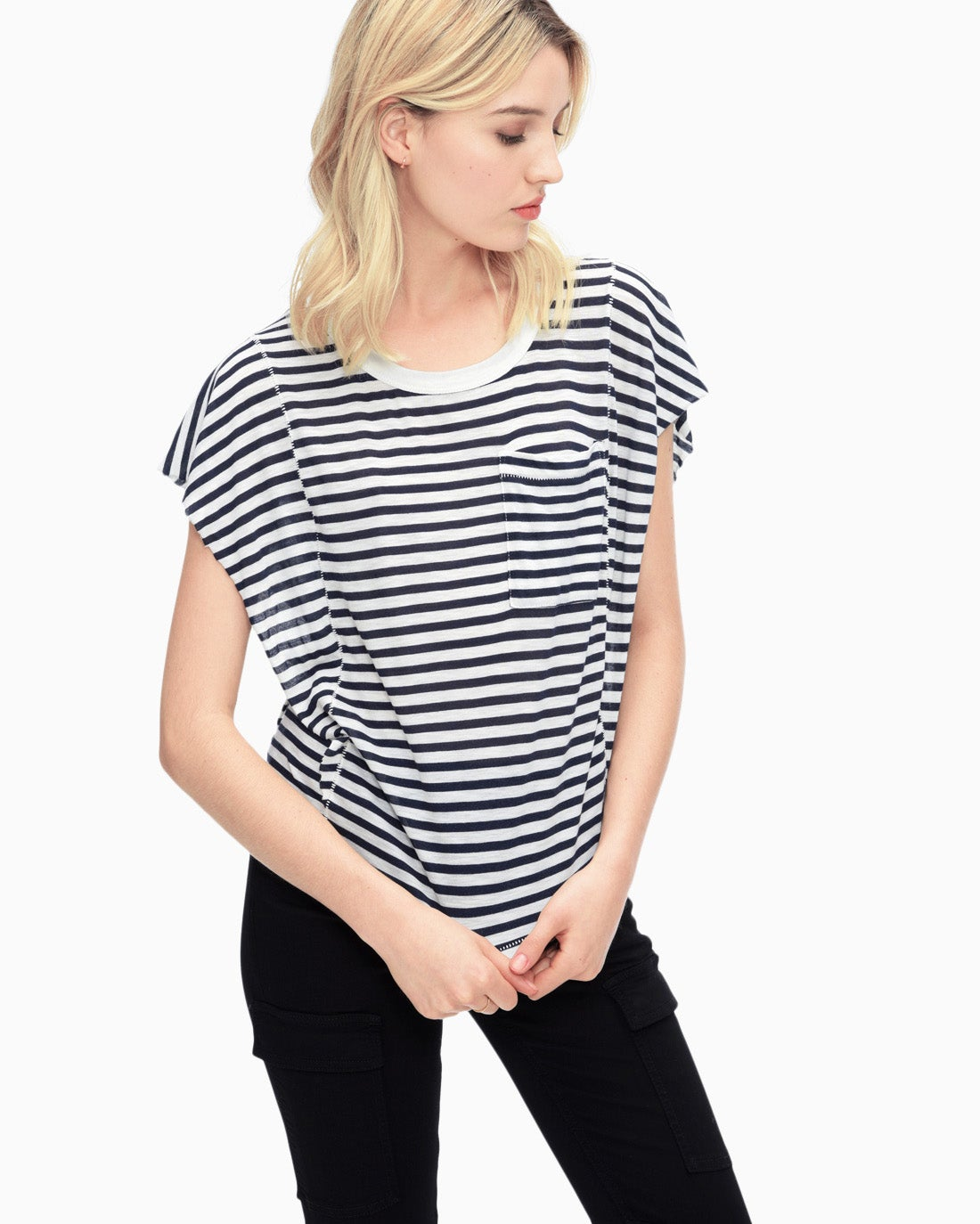 Splendid Women's French Stripe Ruffle Top