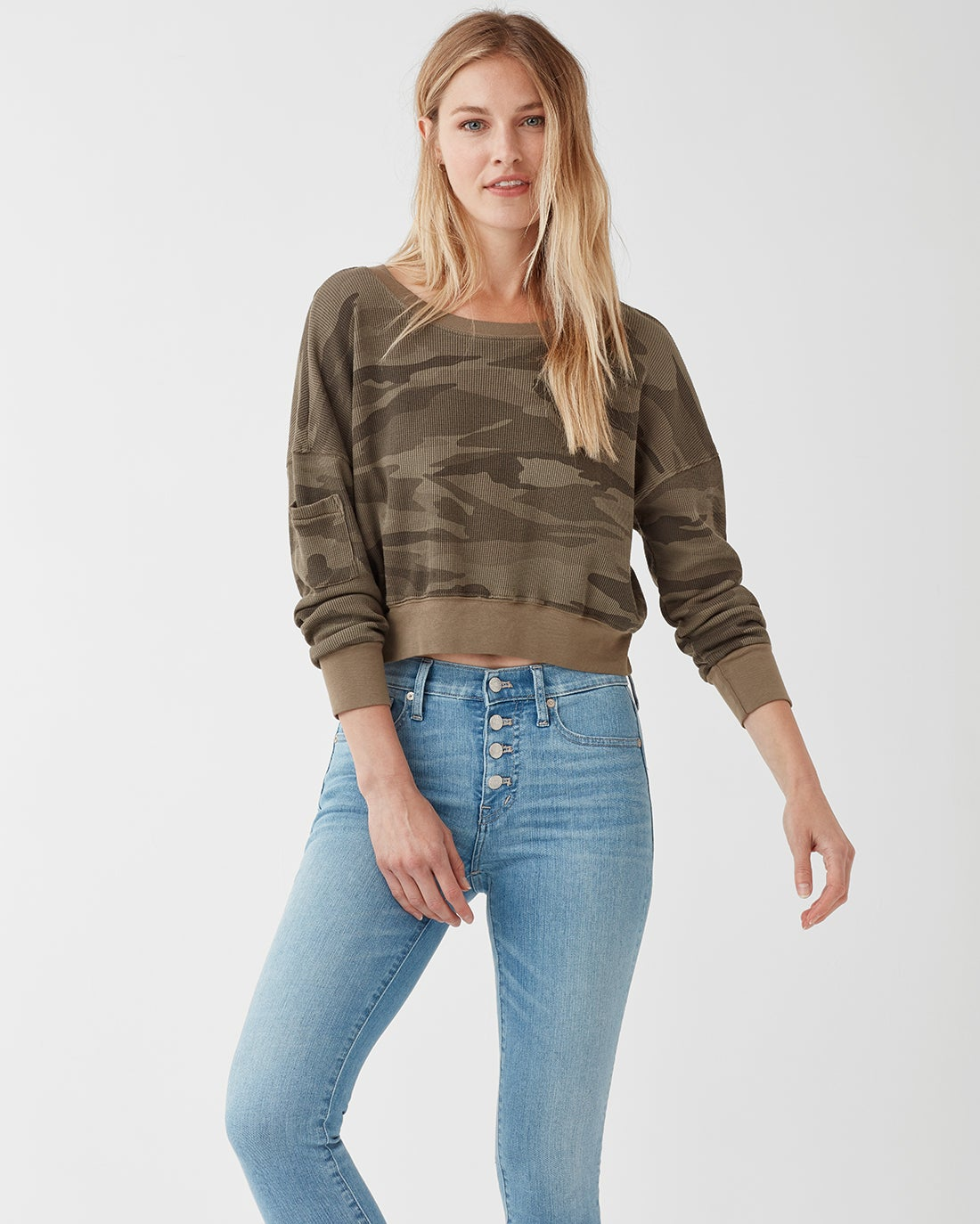 Splendid Women's Camo Thermal Wedge Crop Top