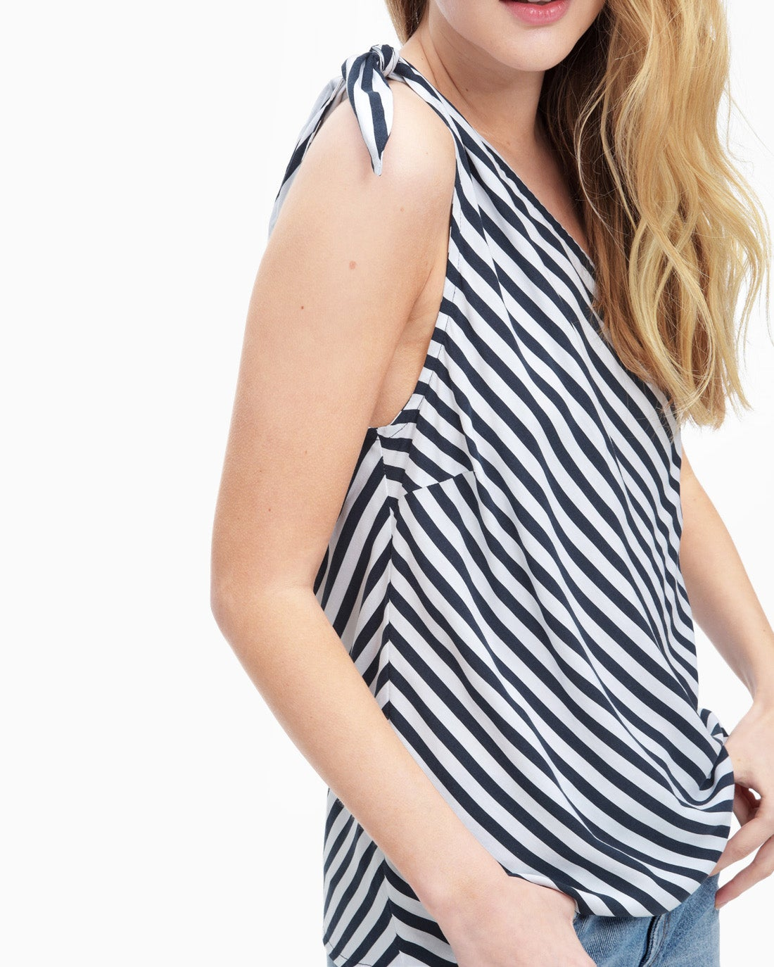 Splendid Women's Boardwalk Stripe One Shoulder Tie Tank