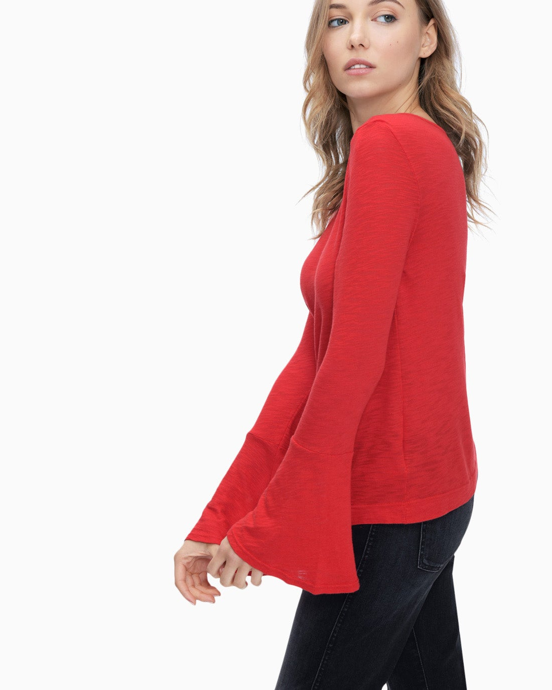 Splendid Women's Heavy Slub Jersey Bell Sleeve Top