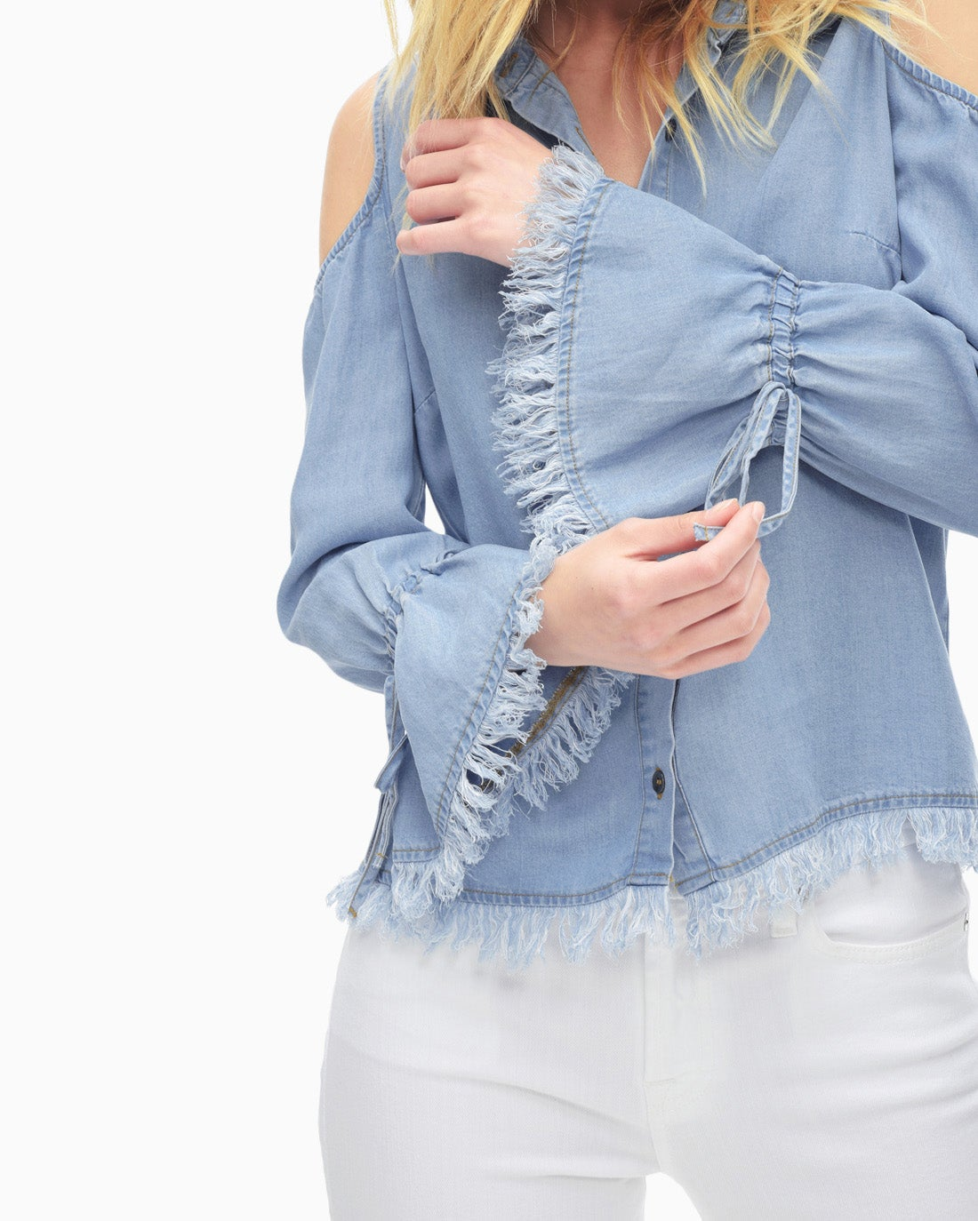 Splendid Women's Indigo Cold Shoulder Shirt