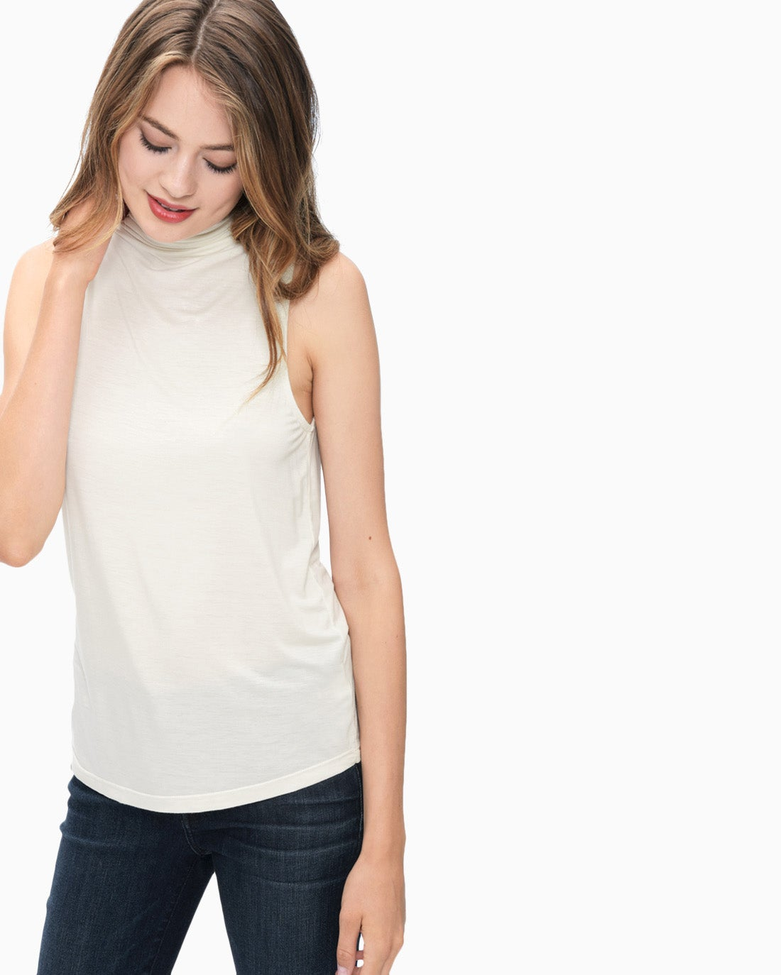 Splendid Women's Rayon Jersey Mock Neck Tank