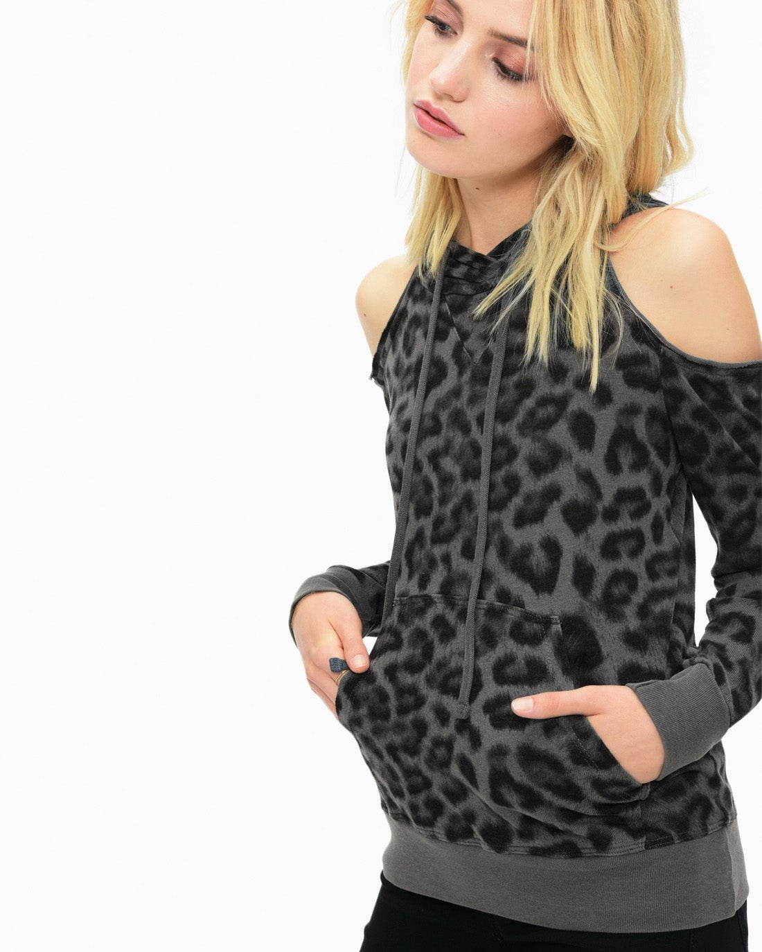 Splendid Women's Printed Leopard Cold Shoulder Sweatshirt