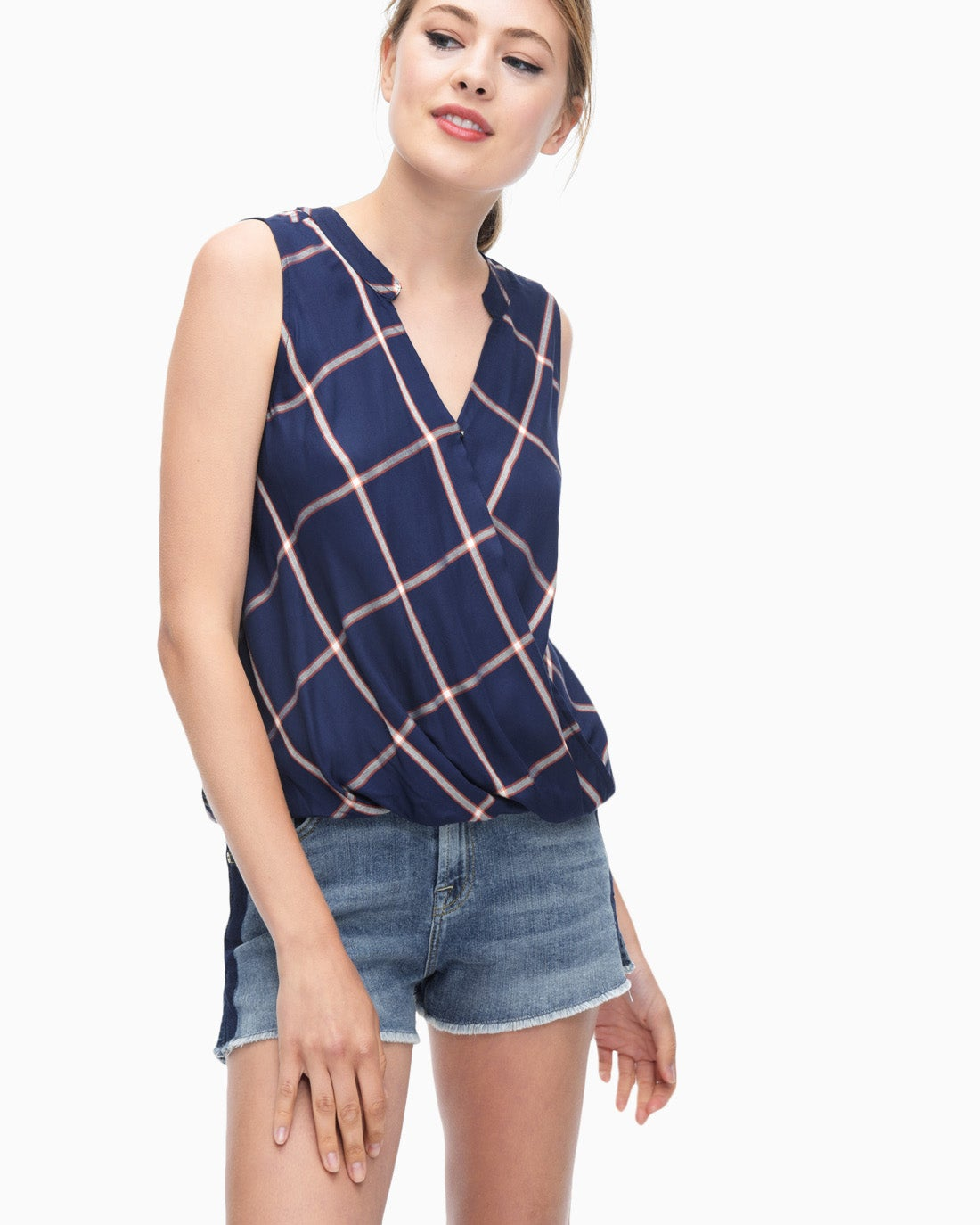 Splendid Women's Reily Plaid Surplice Top