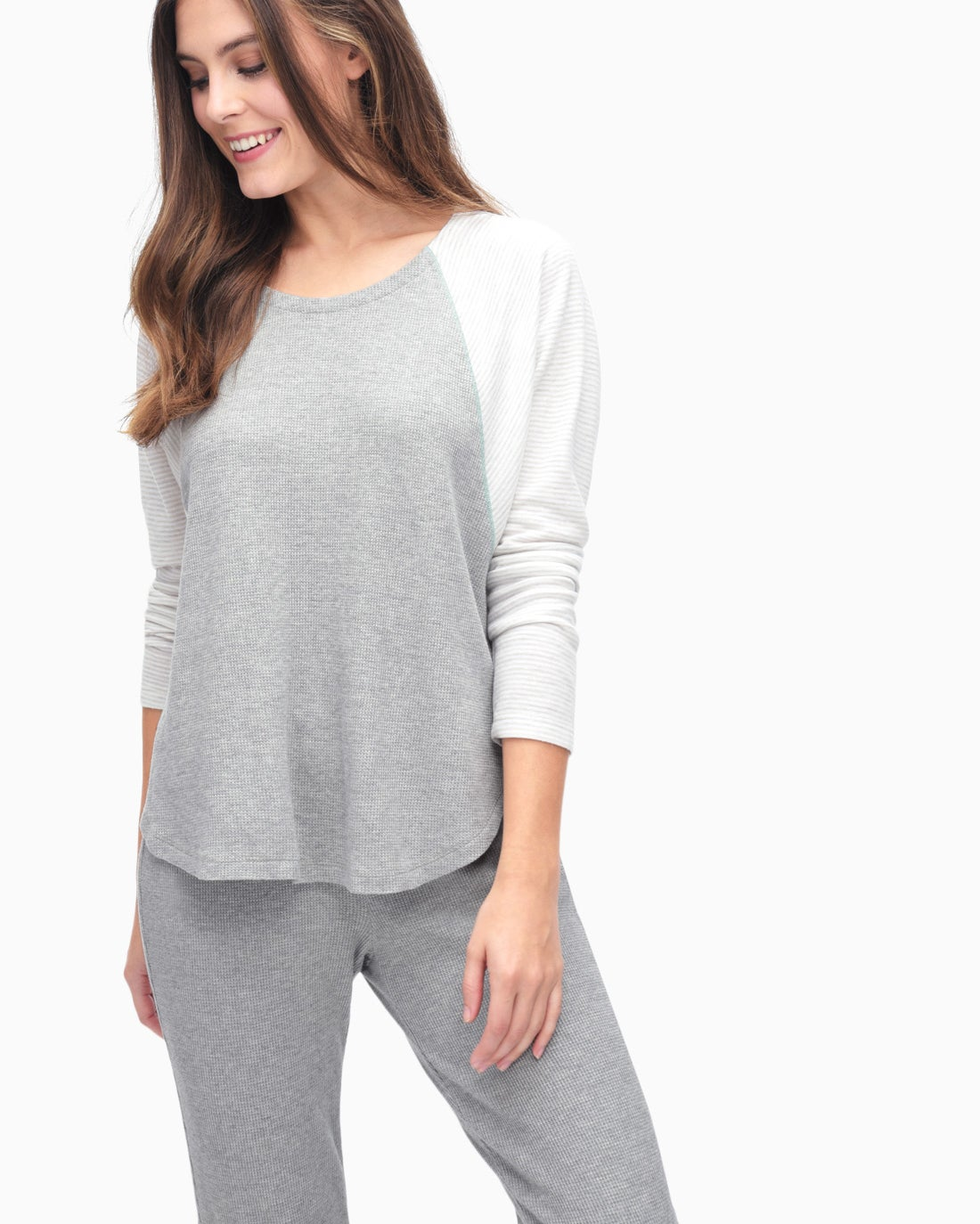 Splendid Women's Give Joy Stripe Raglan Long Sleeve Thermal