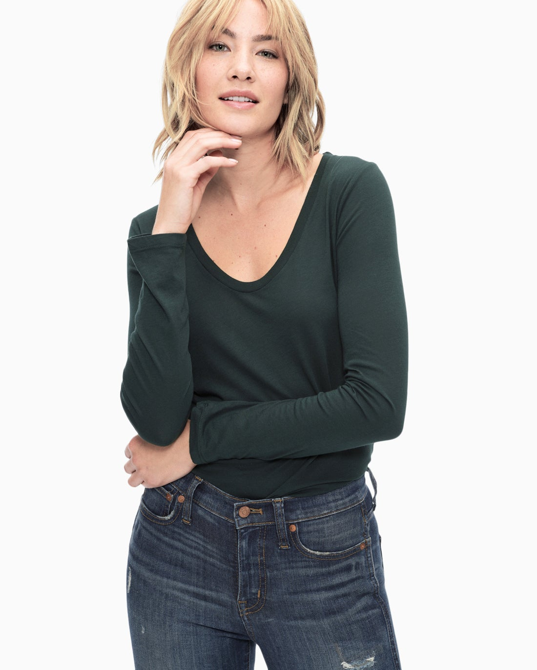Splendid Women's Light Jersey Long Sleeve Scoop Tee